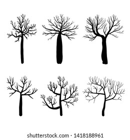 Collection of trees silhouettes, Isolated naked trees set on white background. Vector illustration.