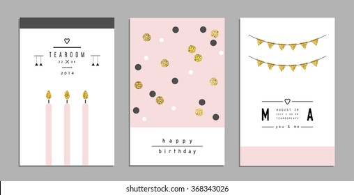 Collection of trendy cards and invitations with gold glitter texture. Wedding, marriage, bridal, birthday, Valentine's day. Template design. Isolated. Vector