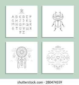 Collection of trendy cards with unusual geometric elements. Isolated.