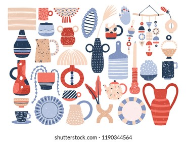 Collection of trendy ceramic household crockery and pottery - cups, plates, bowls, vases, mugs. Bundle of utensils for home decoration isolated on white background. Flat cartoon vector illustration.