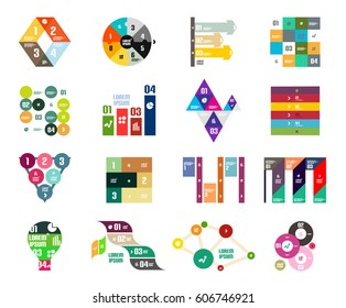 Collection of trendy colorful infographic diagram templates - circles, squares, triangles, arrows, stripes and other geometrical shapes