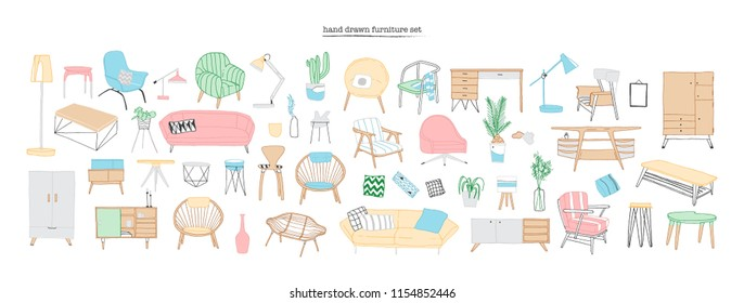 Collection of trendy and comfortable furniture, furnishings and home interior decorations of Scandic or hygge style isolated on white background. Colorful hand drawn realistic vector illustration