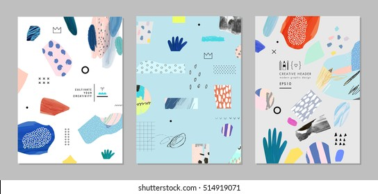 Collection of trendy creative cards with different shapes and textures. Modern graphic design. Collage. Design for poster, header, card, invitation, cover, placard, brochure, flyer. Vector