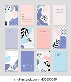 Collection of trendy creative cards with floral elements and different textures. Collage. Design for poster, card, invitation, placard, brochure, flyer. Vector