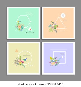 Collection of trendy creative cards. Stylish decor with flowers, birds and geometric shapes. Hipster logotypes. Vector. Isolated.