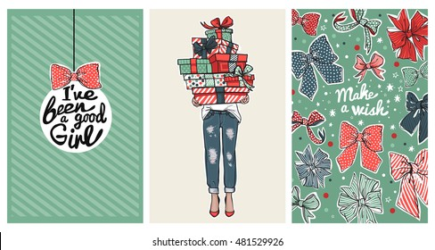 Collection of trendy fashion cards and invitations with illustration for girl and woman party. Wedding, bridal, birthday, Valentine's day, new year, Christmas. Vector. Green, red, blue flat colors.