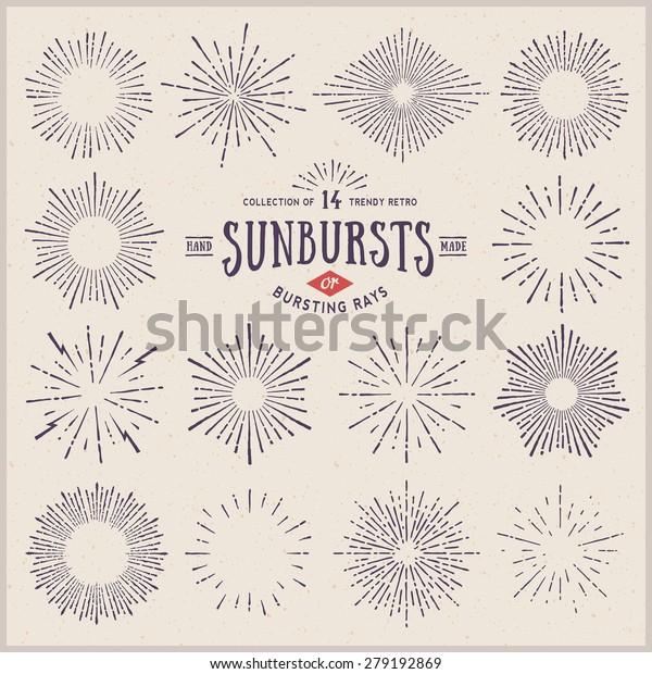 collection of trendy hand drawn retro sunburst/bursting rays design elements