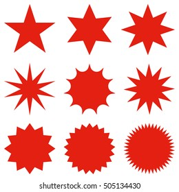 Collection of trendy retro stars shapes. Sunburst design elements set. Bursting rays clip art. Red sparkles. Best for sale sticker, price label, quality sign. Isolated on white.