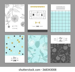 Collection of trendy romantic invitations with flowers and gold glitter texture. Wedding, marriage, bridal, birthday, Valentine's day. Template design.Isolated. Vector