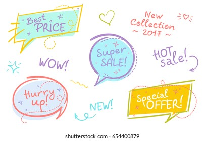 Collection of Trendy Sale Speech Bubbles with Handwritten Text and Doodle Elements. Flat Hand Drawn Shape, Comic and Pop Art Style. Brush Stroke Badges. Shopping Sticker, Bright Vintage Colors.