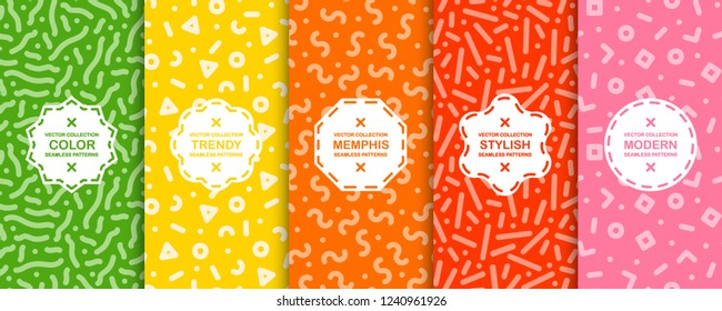 Collection of trendy seamless bright vector patterns - memphis design. Colorful creative backgrounds - retro fashion style 80-90s