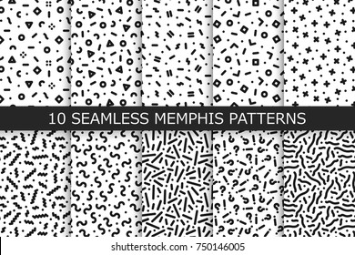 Collection of trendy seamless patterns - memphis design. Fashion 80-90s. Black and white mosaic textures. You can find seamless backgrounds in swatches panel.