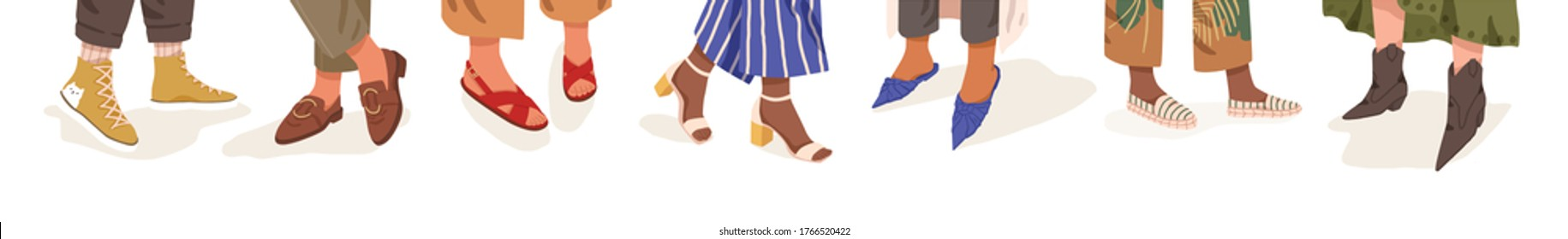 Collection of trendy shoes on diverse female legs vector flat illustration. Bundle of colorful boots on different woman foot isolated on white. Classy seasonal footwear in boho and casual style