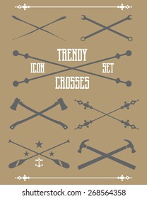 A collection of trendy vector crosses. Suitable for creating your own shirt graphics and trendy logos.
