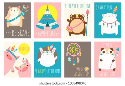 Collection of tribal banner, background, flyer, sticker, placard with cute animals. Vector template card for greeting, decoration, congratulation. Inscription Time of adventures, Be brave little one