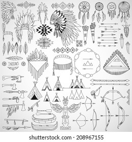 Collection of tribal doodle design elements: frames, arrows, bows, arms and headdresses. Vector illustration.