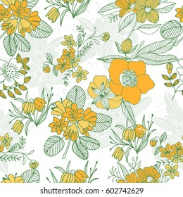 Collection of tropical flowers. Floral seamless pattern for stylish fabric, wrap paper and wallpaper design.