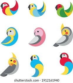 Collection of tropical parrots, vector illustration. Icon, logo.
