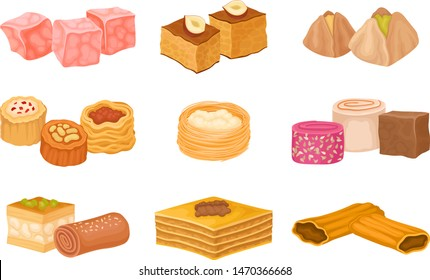 Collection of Turkish sweets. Vector illustration on white background.