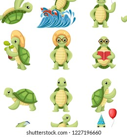 Collection of turtles cartoons characters. Little turtles do different things. Flat vector illustration on white background.