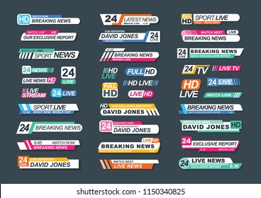 Collection of TV news bars for news, reports, live channels, streams. Bundle of television badges isolated on dark background. Stylish colorful vector illustration for advertisement and announcement.