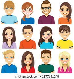 Collection of twelve different people avatar portraits
