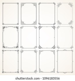 Collection of twelve high quality Full Vector Calligraphic frames