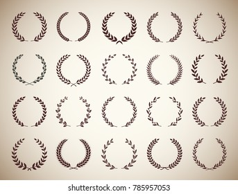 Collection of twenty circular vintage laurel wreaths. Can be used as design elements in heraldry on an award certificate, manuscript and to symbolise victory illustration in silhouette