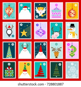 Collection of twenty five Christmas colorful postage stamps vector illustrations