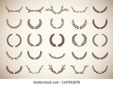 Collection of twenty five circular vintage laurel wreaths. Can be used as design elements in heraldry on an award certificate, manuscript and to symbolise victory illustration in silhouette