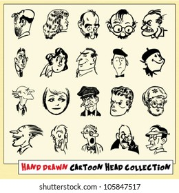 Collection of twenty hand drawn cartoon heads in black, isolated on light yellow background (5)