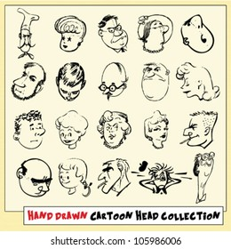 Collection of twenty hand drawn cartoon heads in black, isolated on light yellow background (9)