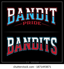 Collection of two Bandit insignias, Red, White, Blue, Bandit Pride, Sports Logo, Bandits