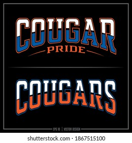 Collection of two white, blue, and orange Cougar insignias, Pride logo, Sports Design, Cougar logo