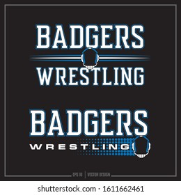 Collection of two white and blue wrestling insignias, sports team, team logo