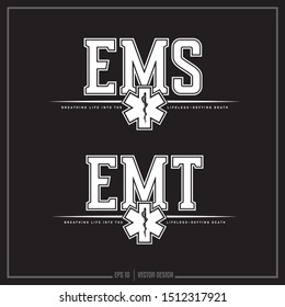 Collection of two white Emergency Medical Services insignias, EMT, EMS, Medical Symbol