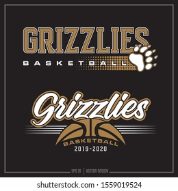 Collection of two white and gold basketball sports logos, Basketball team, Paw Print