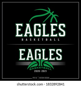 Collection of two white and green Basketball insignias, Eagle logo, Sports Design