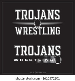 Collection of two white and grey wrestling sport insignias, Team logo, Sports Design