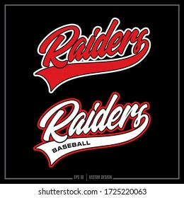 Collection of two white and red Raider insignias, Raider Baseball, Sports Design