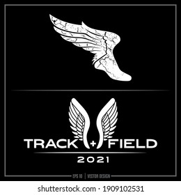 Collection of two white Track and Field insignias, Track Team, Sports Design, Team logo, Track