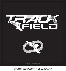 Collection of two white track insignias, sports design, track logo