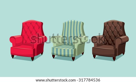 Collection types seating. Leather armchair. Simple cartoon isolated vector illustration.