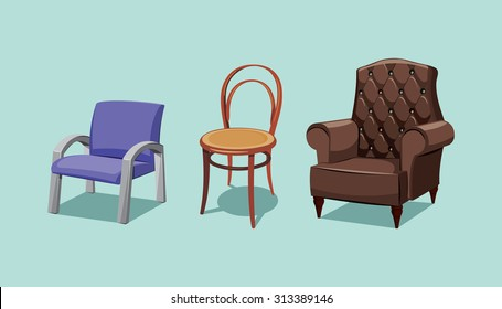 Collection types seating. Office chair, cafe wooden chair and retro leather armchair. Simple cartoon isolated vector illustration.