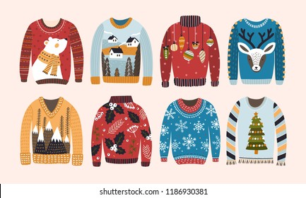Collection of ugly Christmas sweaters or jumpers isolated on light background. Bundle of knitted woolen winter clothing with various prints. Colorful vector illustration in flat cartoon style.