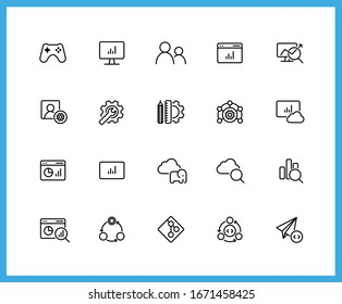 Collection of UI UX black linear icons.  . Cloud, Analytics, Management. Set of cloud platform symbols drawn with thin contour lines. Vector illustration.
