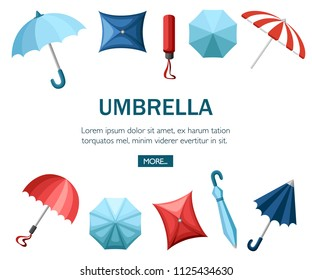 Collection of umbrellas. Flat style design. Umbrellas in various positions. Parasol opened and taken down. Flat vector illustration on white background. Concept design for website or advertising.
