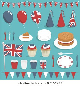 collection of united kingdom party items with balloons, cake and bunting