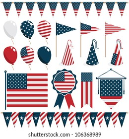 collection of united states of america decorations, isolated on white