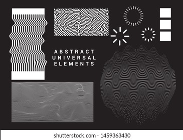 Collection of universal geometric shapes and elements on dark background. Set of vector cyberpunk/ vaporwave style glitched patterns, logotypes, icons.